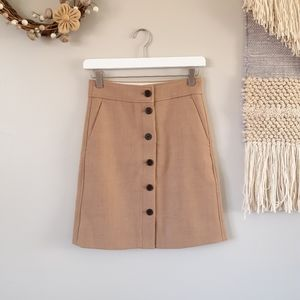 J. Crew | Button-front Skirt in Double-serge Wool